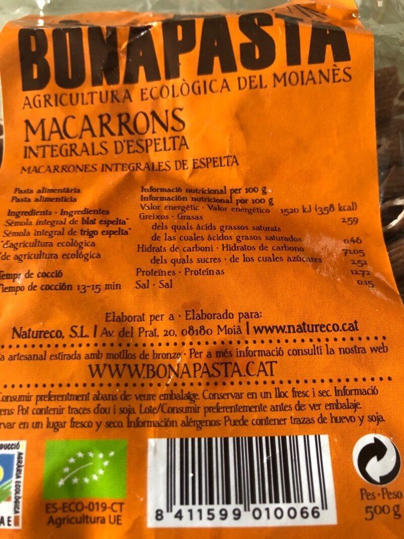 MACARRONS INTEGRALS D'ESPELTA - Informació nutricional - es