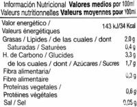 Horchata de chufa ligera - Nutrition facts