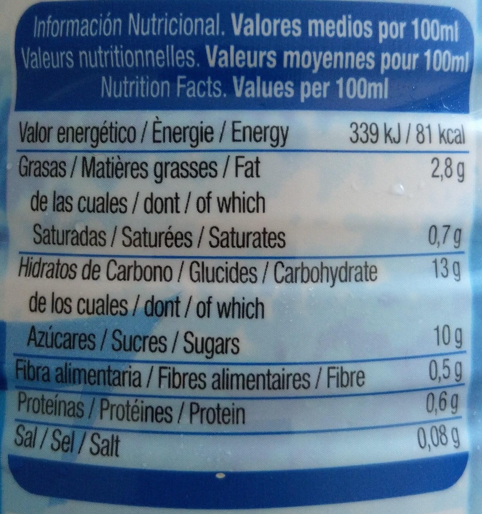 Horchata de chufa original - Informations nutritionnelles - es