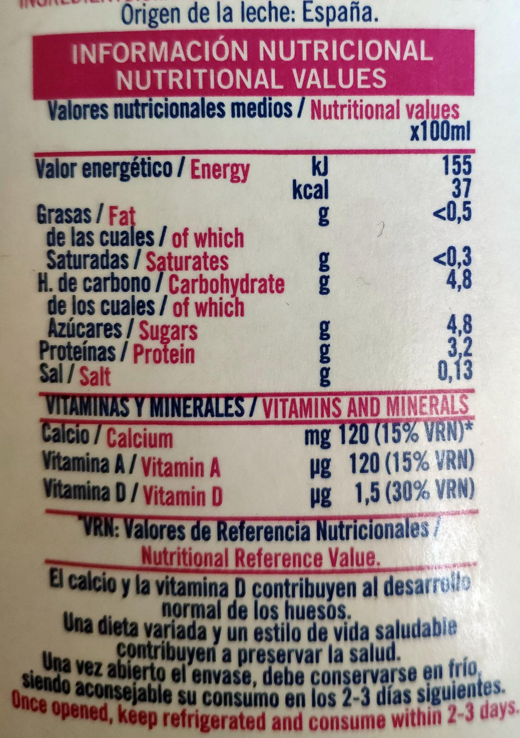 Leche desnatada A + D - Informação nutricional - es