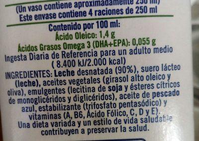 Leche desnatada con Omega 3 - Ingrediënten - es