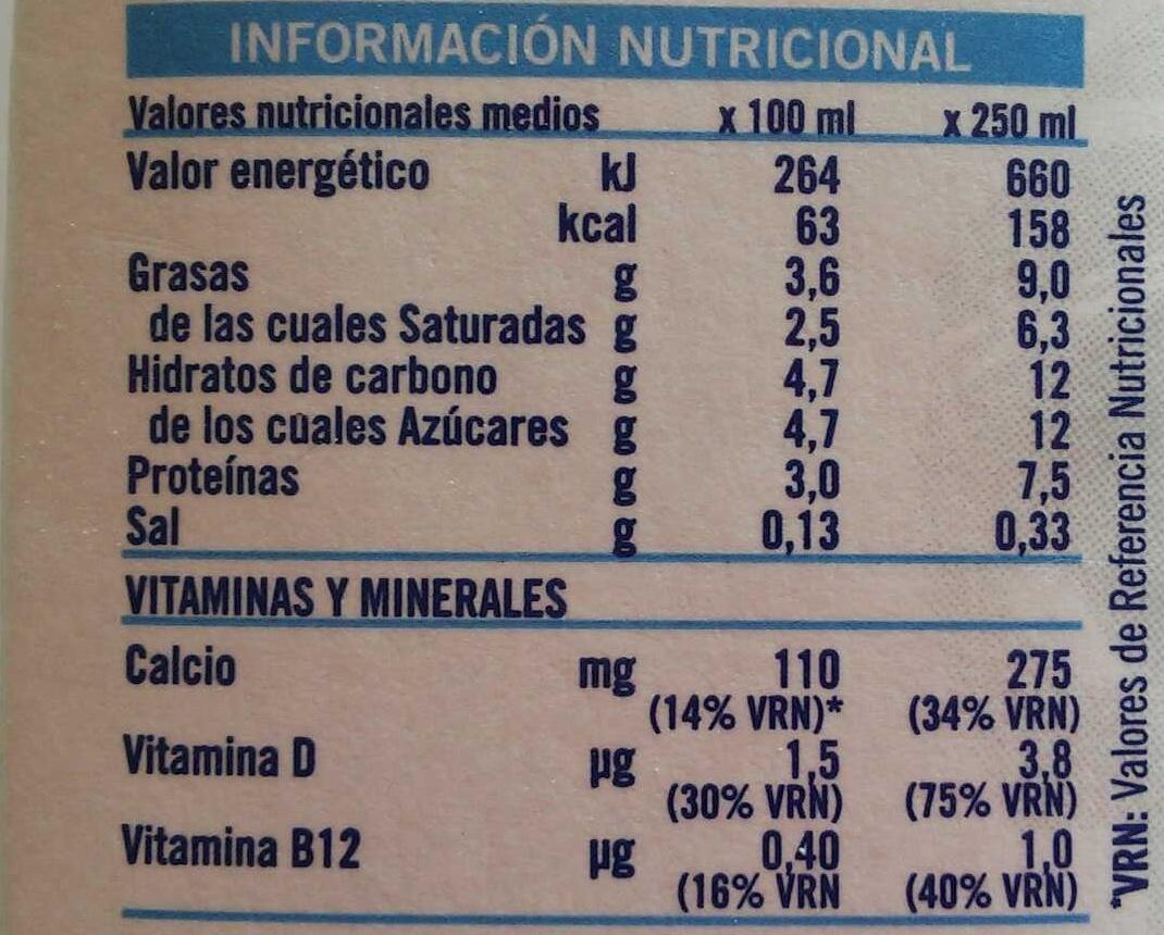 Leche entera - Información nutricional