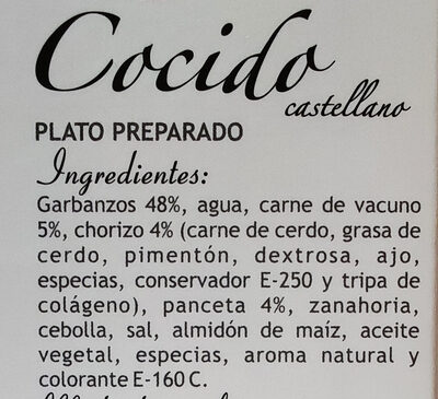 Cocido castellano - Ingredients
