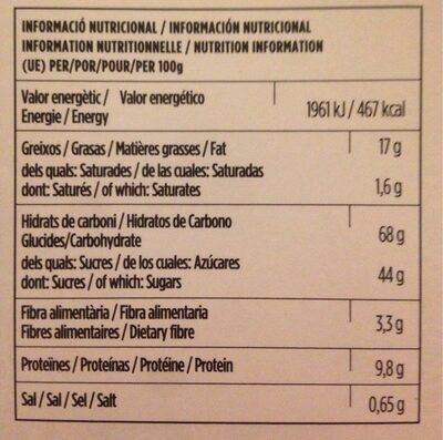 Teules - Informació nutricional - es