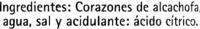 Corazones de alcachofa en conserva - Ingredientes