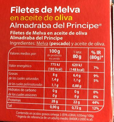 Filetes de Melva en aceite de oliva - Ingredientes