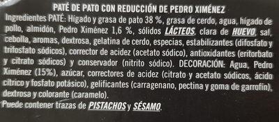 Mousse de pato con reducción de Pedro Ximenez - Ingredientes