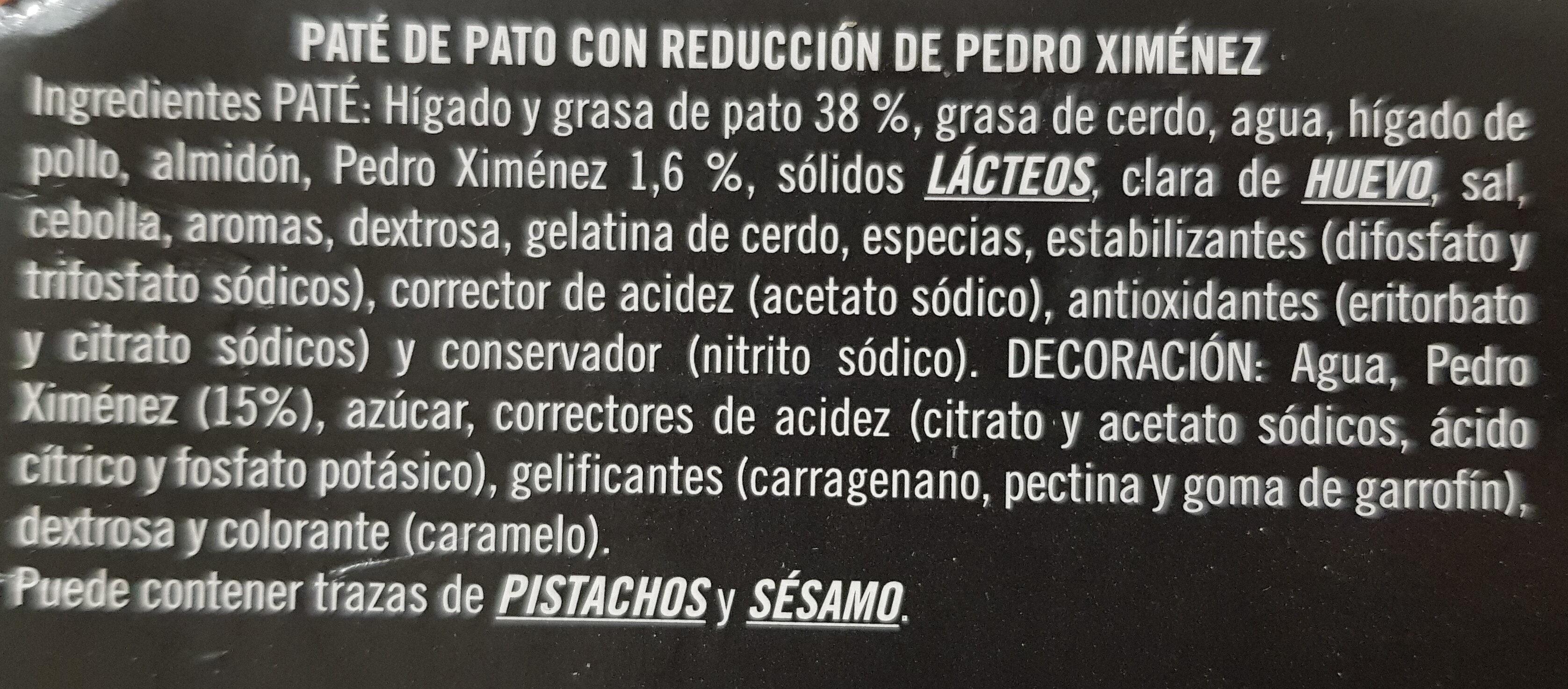 Mousse de pato con reducción de Pedro Ximenez - Ingredientes - es