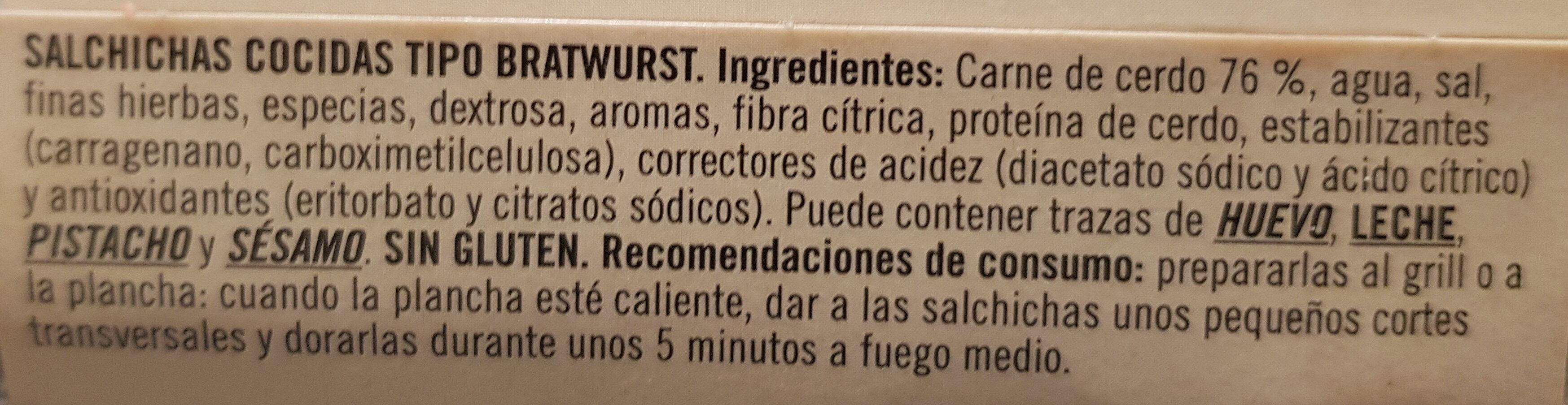 Salchichas bratwurst de cerdo sin gluten sin lactosa - Ingredients - es