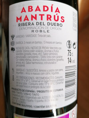 abadía mantrus - Nutrition facts - es