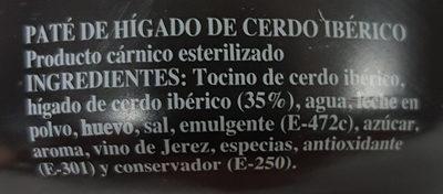 Paté Ibérico - Ingredients - es