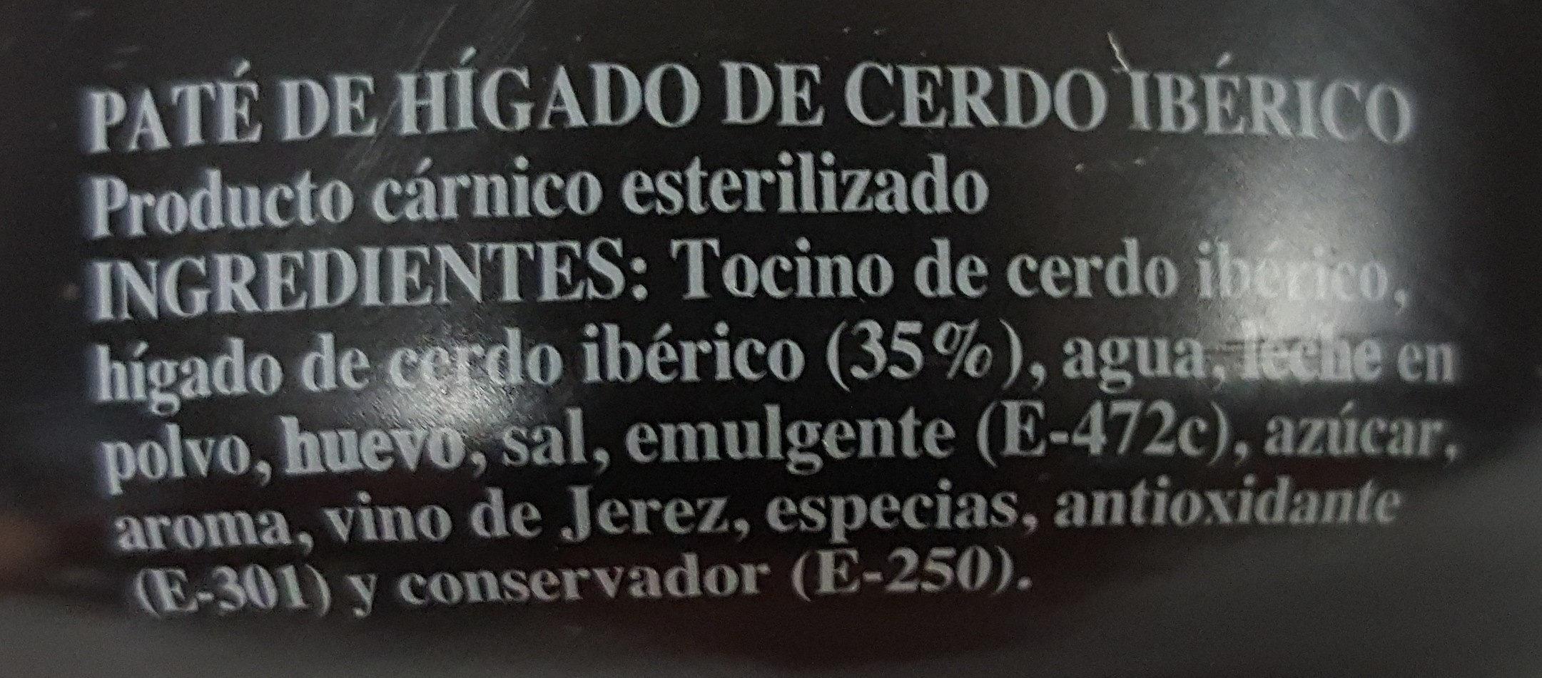 Paté Ibérico - Ingredients