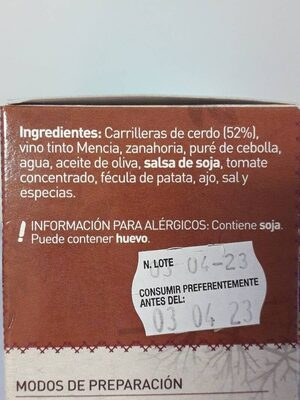 Carrilleras Estofadas - Ingredients - es