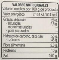 Turrón duro de almendra - Informations nutritionnelles - fr