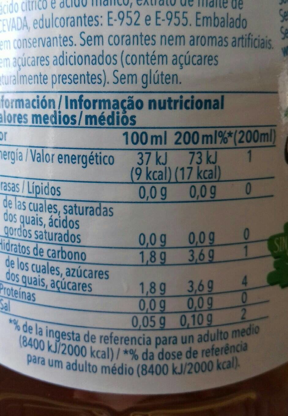 Trina Manzana Zero - Nutrition facts - es