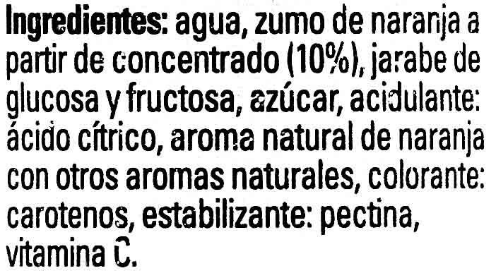 Naranja sin burbujas - Ingredientes - es