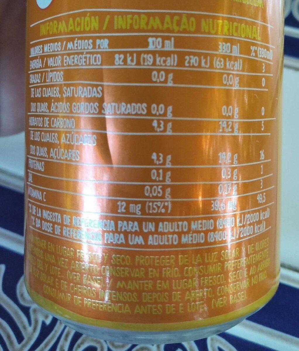 Naranja sin burbujas - Información nutricional - es