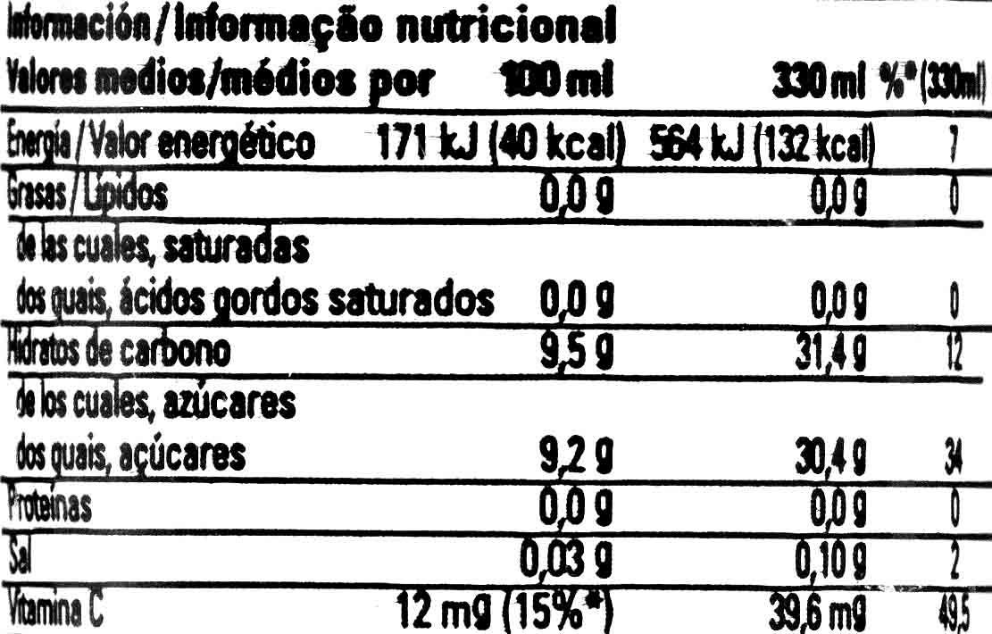 Refresco de limón sin gas - Informations nutritionnelles - es