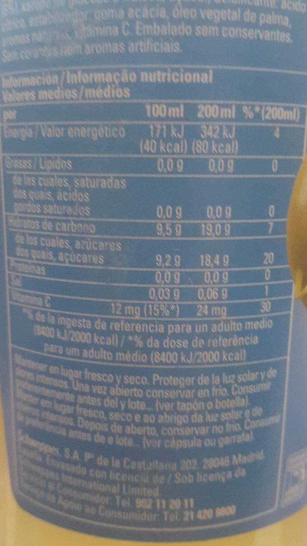 Refresco de limón sin gas - Información nutricional
