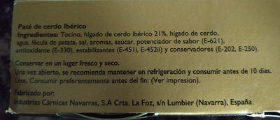 Pate de cerdo iberico - Informations nutritionnelles