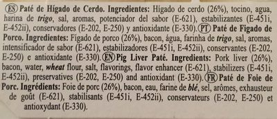 Pate de higado de cerdo - Ingredients - fr