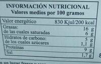 Paté de hÌgado de cerdo - Informations nutritionnelles - fr