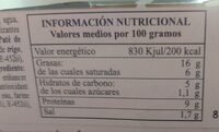 Pate de higado de cerdo - Informations nutritionnelles - fr