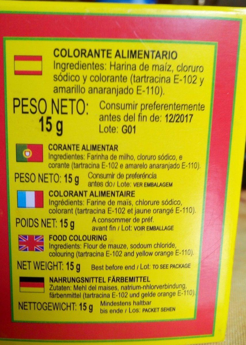 Polluelos Colorante Carteritas 10U - Ingredients