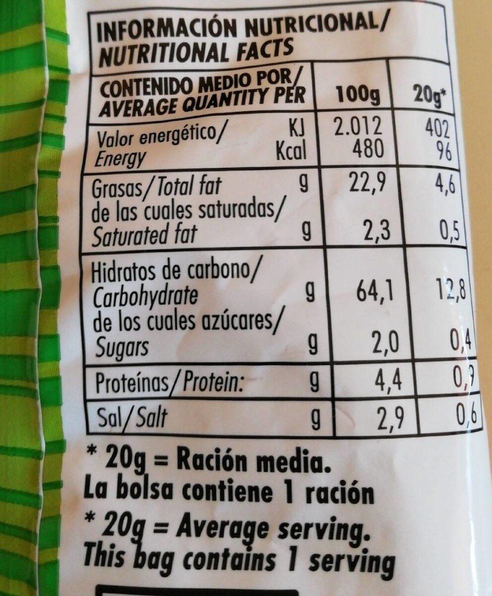 Pajitas de patata - Información nutricional