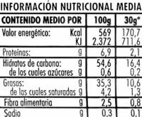 """Patatas fritas lisas """"Risi"""" - Información nutricional - es"""