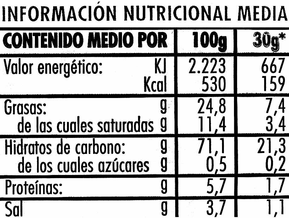Aros de maíz - Información nutricional