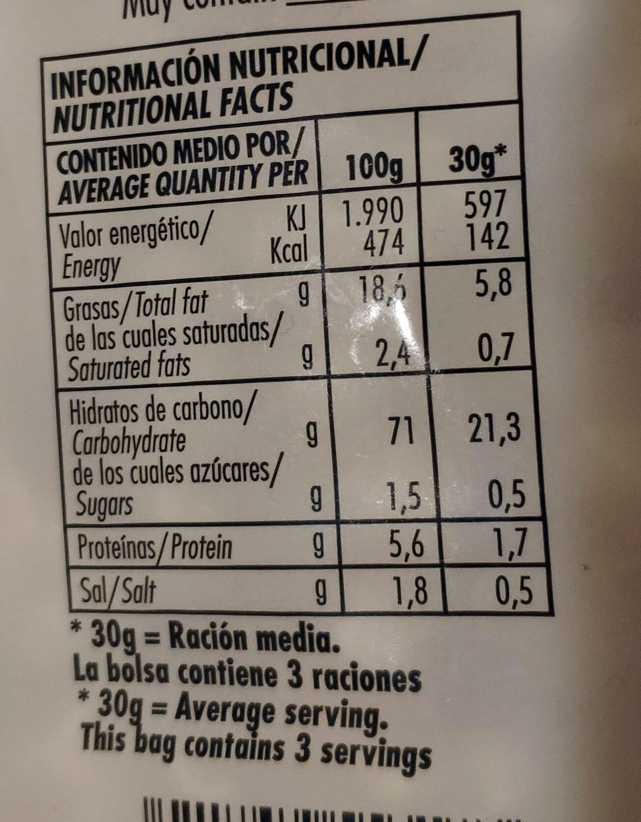 Palomitas - Información nutricional - es
