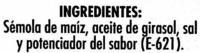 """Aperitivo de maíz """"Risi"""" """"Gusanitos"""" - Ingredientes"""