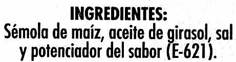 Aperitivo de maíz horneado Gusanitos - Ingredients