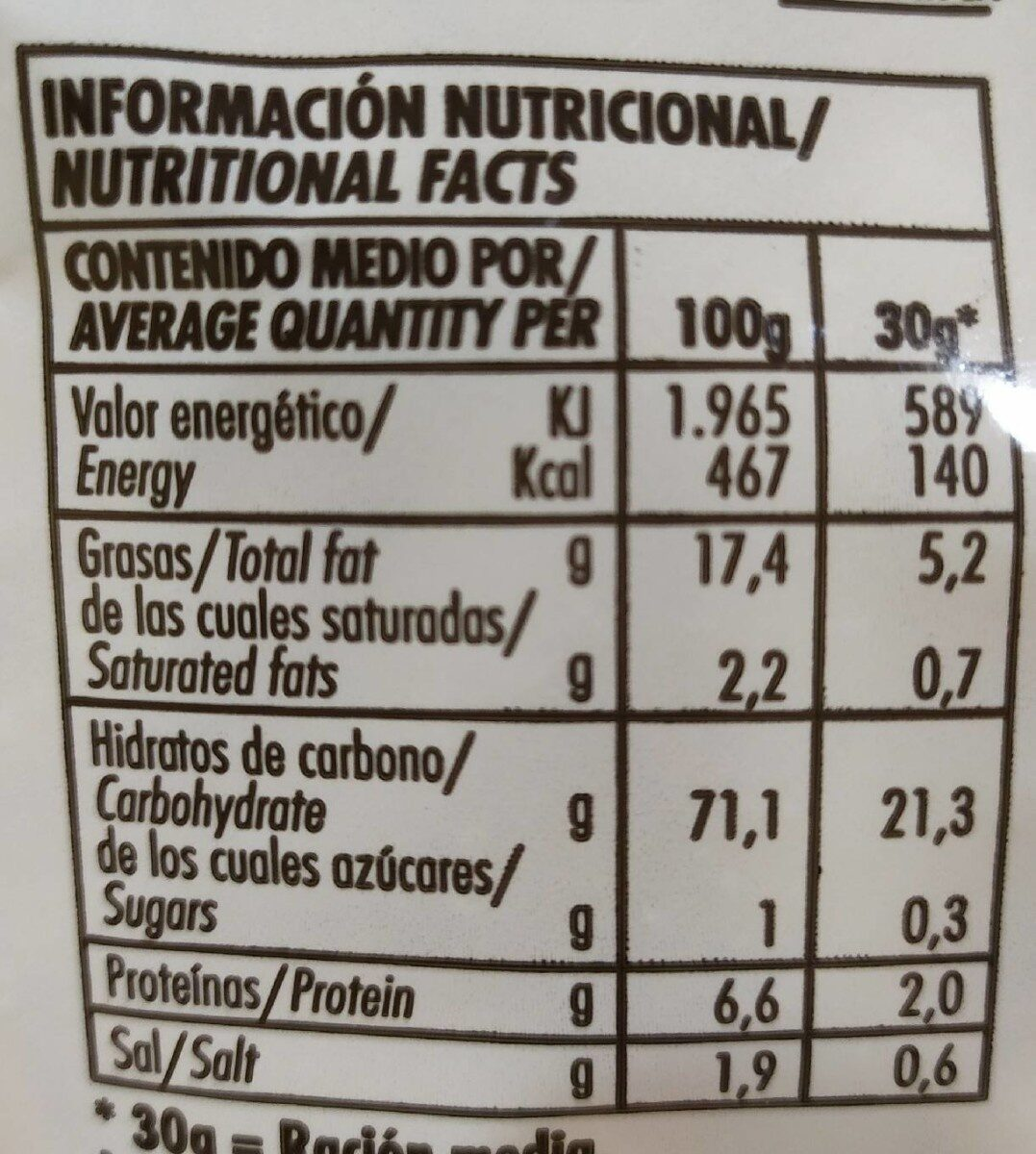 Gusanitos - Informations nutritionnelles - es