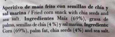 Chips de maíz y chía con sal marina - Ingredientes