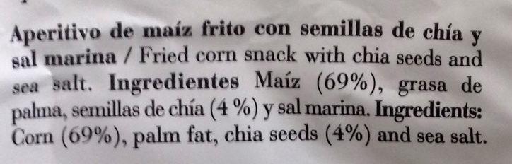 listado de ingredientes chips de maiz risi