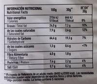 Chips de maíz y chía con sal marina - Información nutricional