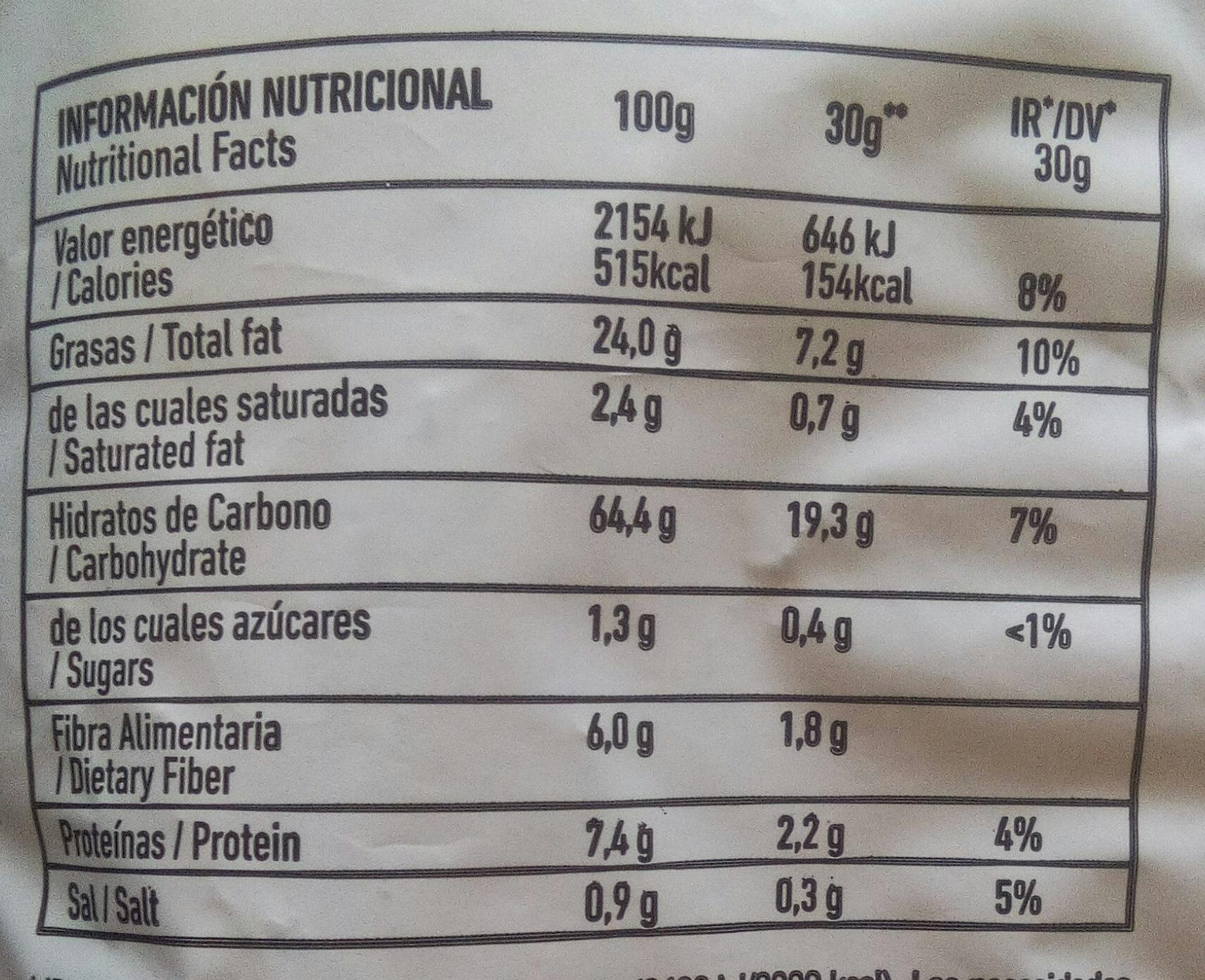 Mios! chips de maíz y chia con sal marina Sin Gluten bolsa 150 g - Información nutricional