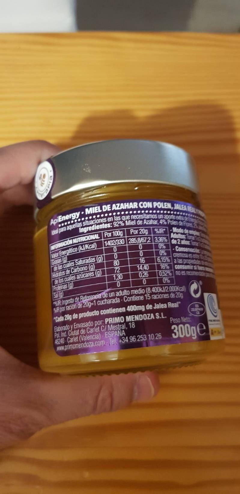 Miel de azahar con polen jalea y propóleo tarro - Información nutricional - es