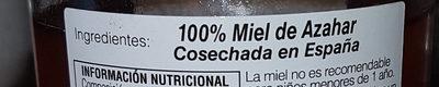 Miel de Azahar - Ingredients - es