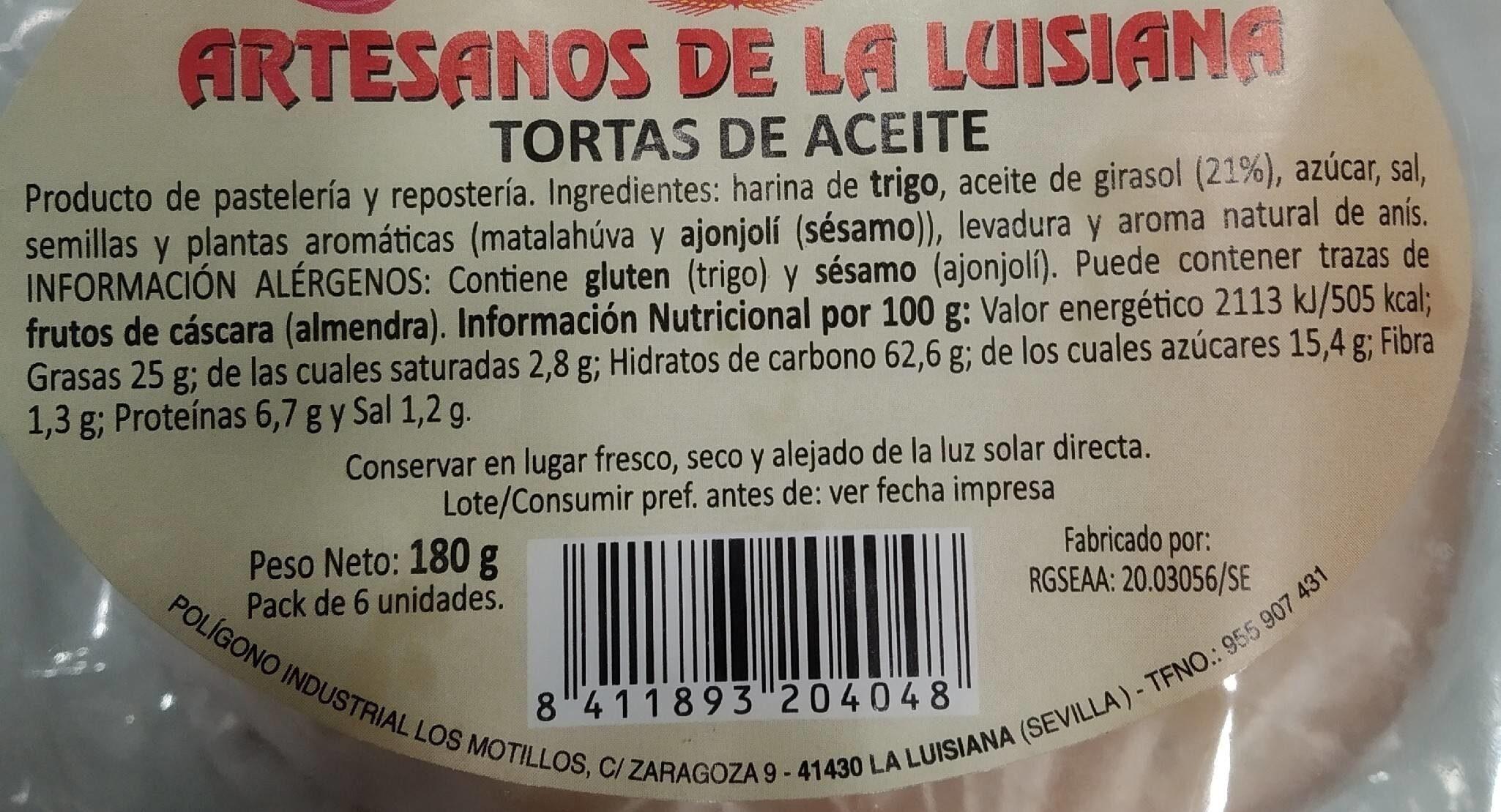 Tortas de Aceite - Nutrition facts