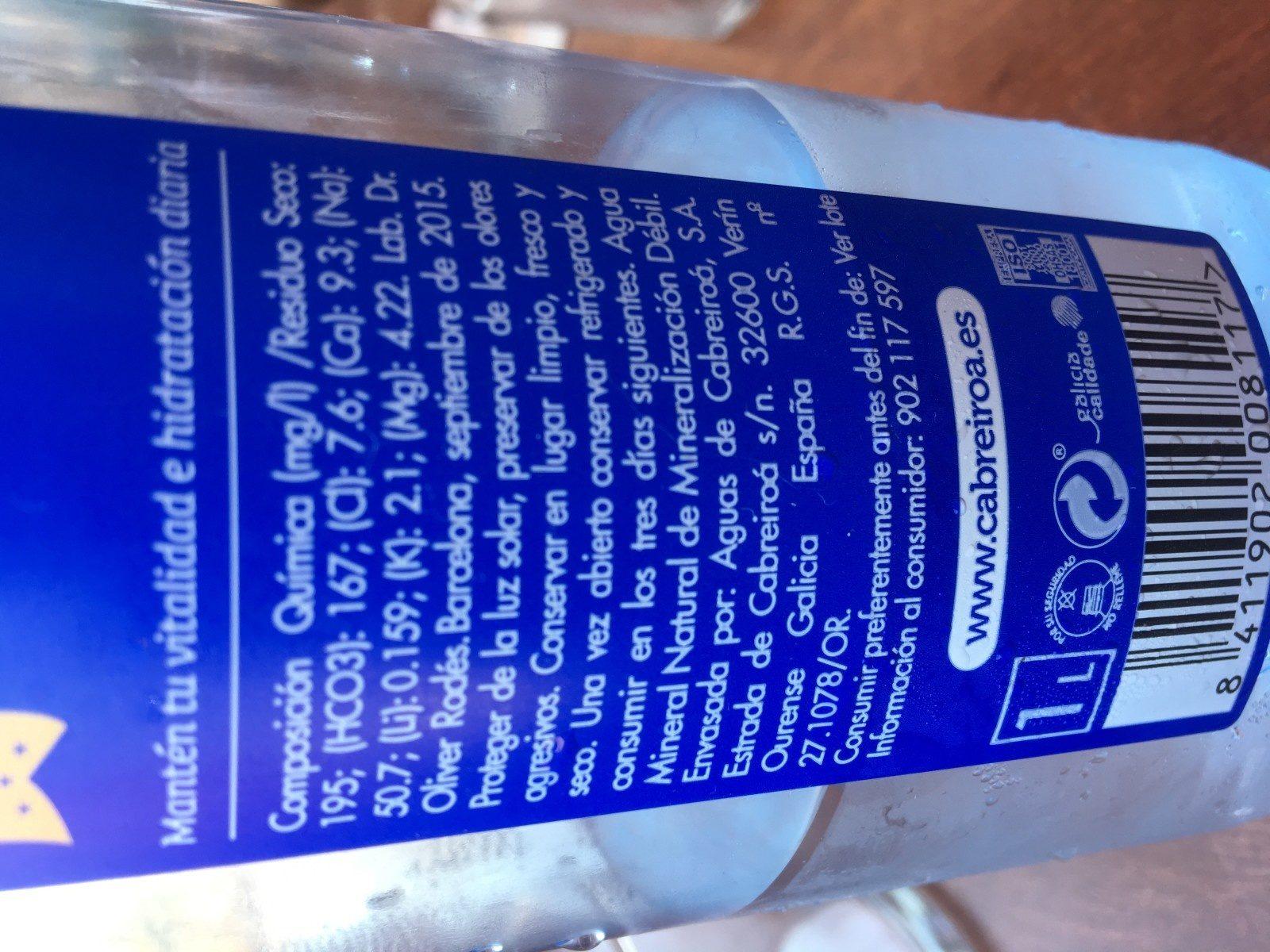 Agua mineral natural - Ingrediënten - fr