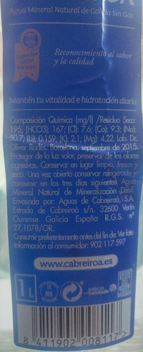 Agua mineral natural - Voedigswaarden