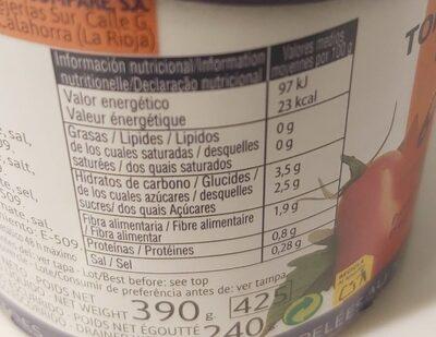 Tomate entero pelado - Información nutricional - es
