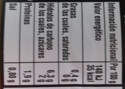 Corazones de alcachofa - Nutrition facts