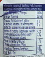 Zanahorias rallada - Informations nutritionnelles - es