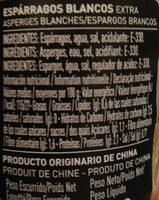 Espárragos Blancos Cortos - Informations nutritionnelles - es