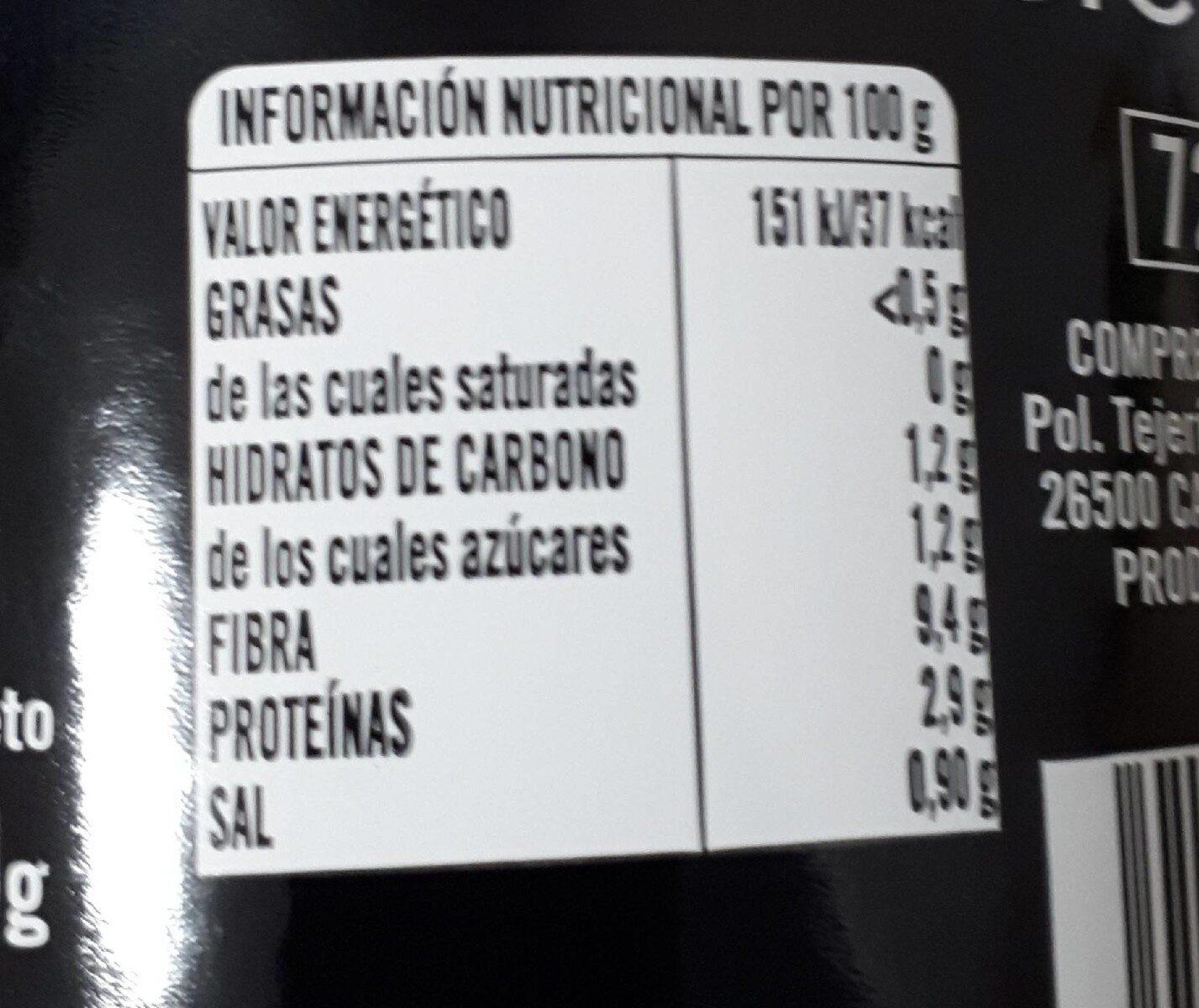 Corazones de alcachofas - Nutrition facts - en