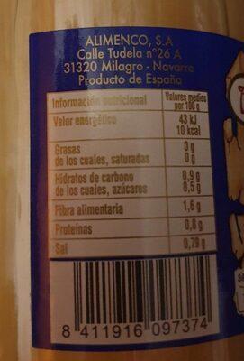 Pencas de acelga - Nutrition facts